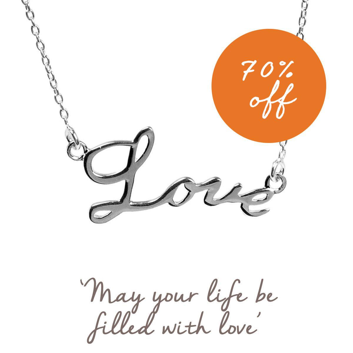 Love Script Necklace | Romantic Gifts For Her | Mantra Jewellery Intended For Latest Loved Script Necklaces (View 8 of 25)