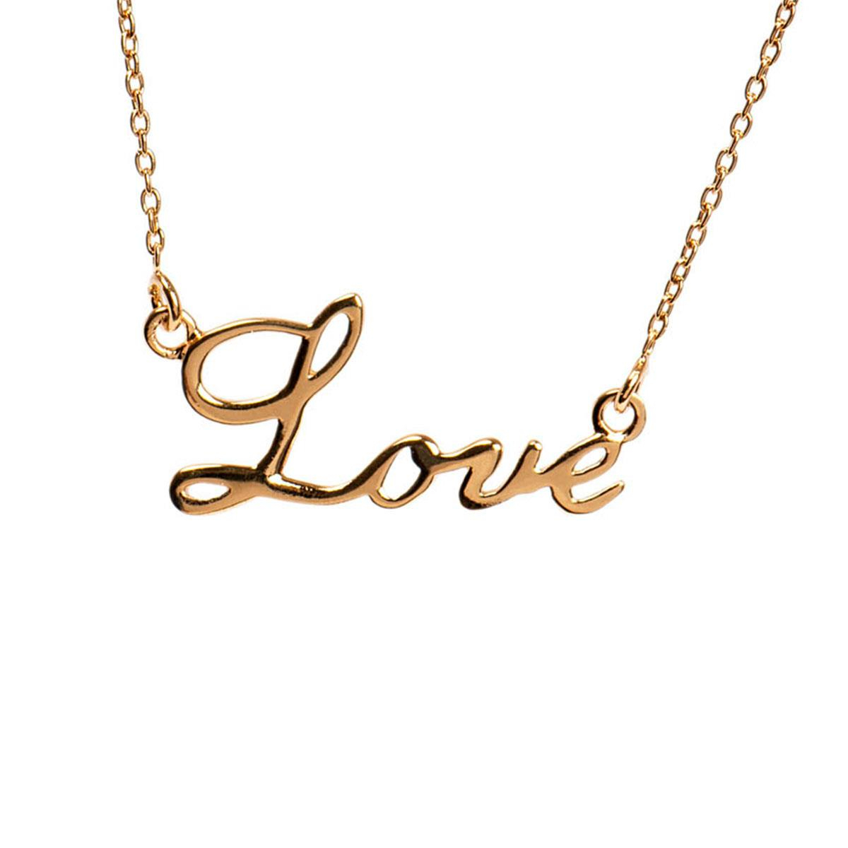 Love Script Necklace | Romantic Gifts For Her | Mantra Jewellery Pertaining To Most Up To Date Loved Script Necklaces (View 10 of 25)