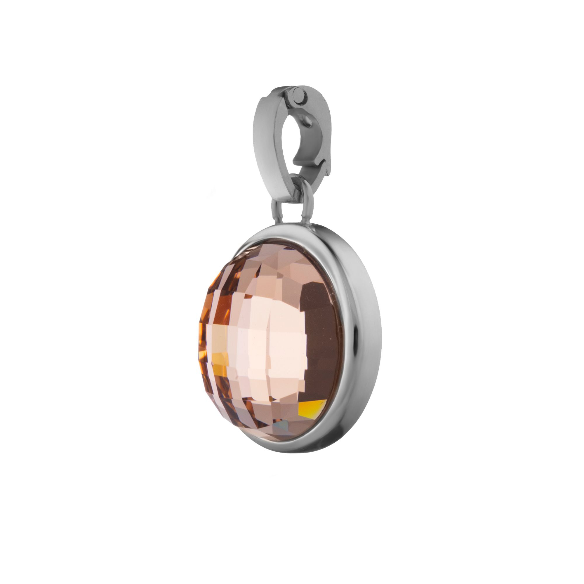 Love Signature Pendant Silver, Pink Glass With Regard To Newest Pink October Birthstone Locket Element (View 5 of 25)