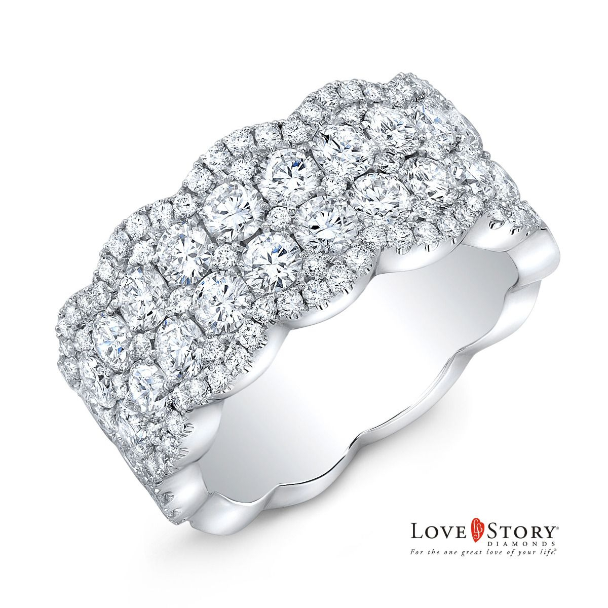 Love Story® Multi Row Diamond Anniversary Band In 14k White Gold, 1 1/2ctw In Newest Diamond Multi Row Anniversary Bands In White Gold (View 2 of 25)