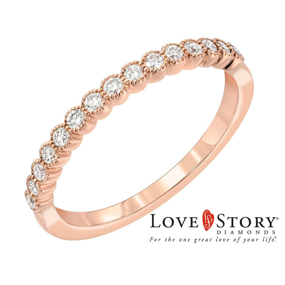 Love Story® Vintage Style Diamond Anniversary Band In 14k Rose Gold, 1/4ctw In Latest Diamond Vintage Style Anniversary Bands In Gold (View 5 of 25)