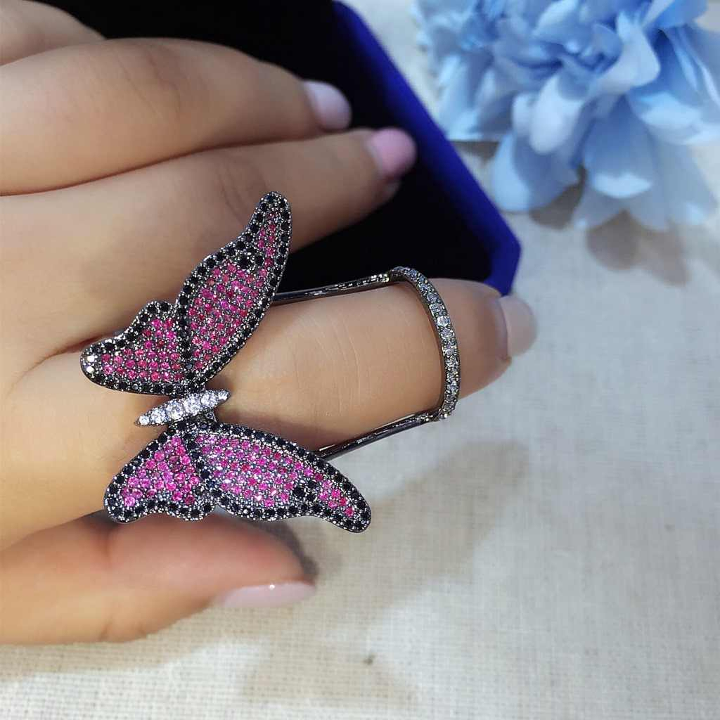 Lovely Ladies Butterfly Ring Open Rings For Women Quality Cubic With Regard To Recent Butterfly Open Rings (View 15 of 25)