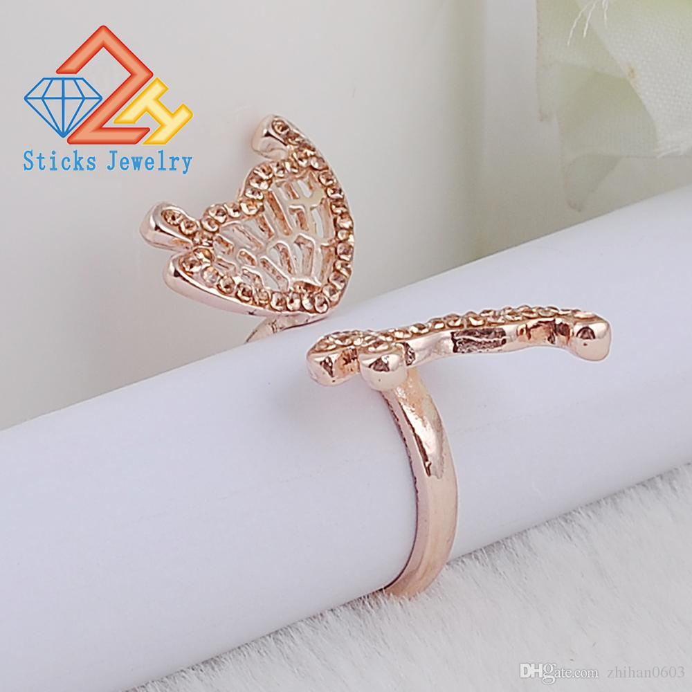 Lovely Ladies Butterfly Ring Rose Gold Color Open Rings For Women With Top Quality Cubic Zirconia Stone Jewelry Gifts With Most Up To Date Butterfly Open Rings (Gallery 20 of 25)