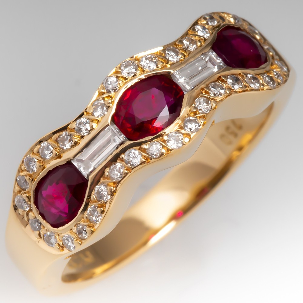 Low Profile Ruby & Diamond Anniversary Band Ring 18k Gold Within Best And Newest Diamond Accent Anniversary Bands In Gold (View 8 of 25)