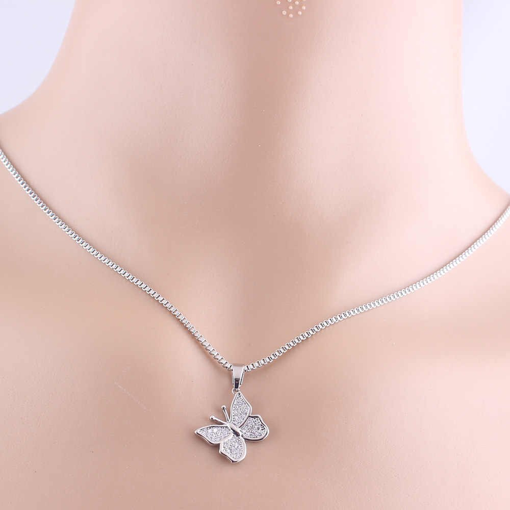 Lubingshine Pave Crystal Butterfly Pendant Necklace For Women Female  Jewelry Gift Cubic Zirconia Copper Chain Necklaces For Girl With Most Current Pavé Butterfly Pendant Necklaces (View 14 of 25)