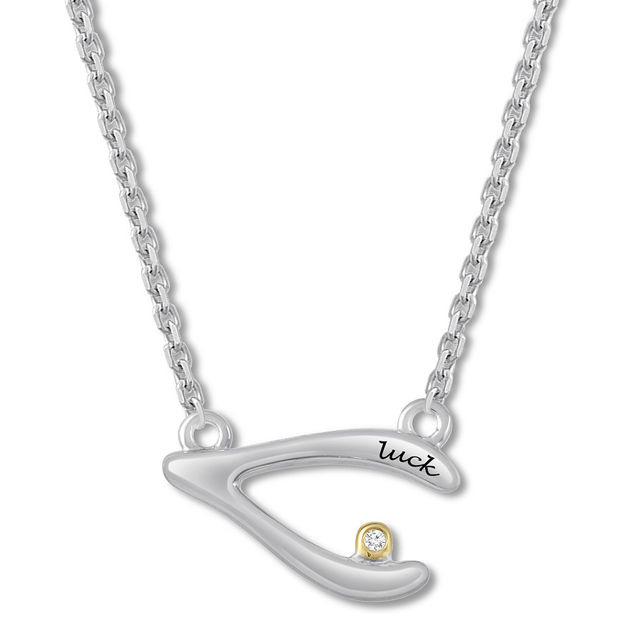 """luck"" Diamond Wishbone Necklace Sterling Silver/10k Gold In Current Sparkling Wishbone Necklaces (View 9 of 25)"