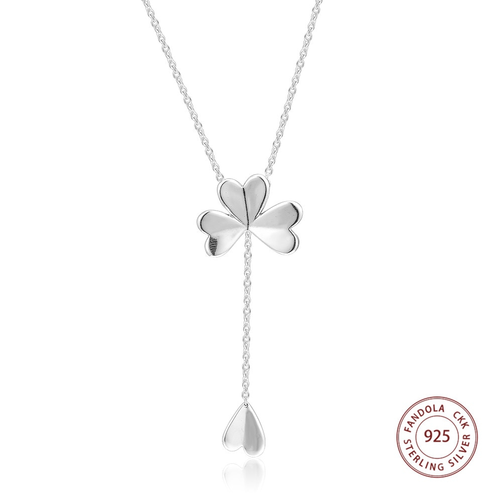 Lucky Four Leaf Clover Necklace 925 Sterling Silver Chain 70cm Inside Newest Lucky Four Leaf Clover Pendant Necklaces (View 10 of 25)