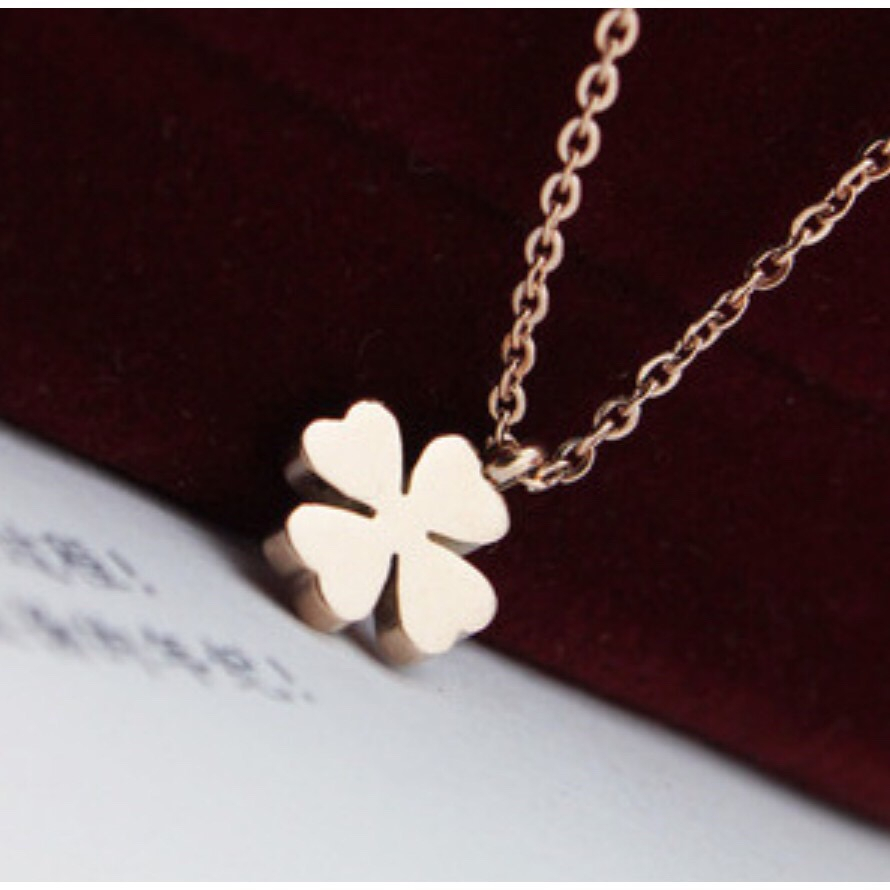 Lucky Four Leaf Clover Rose Gold Necklace Throughout Best And Newest Four Petal Flower Necklaces (View 16 of 25)