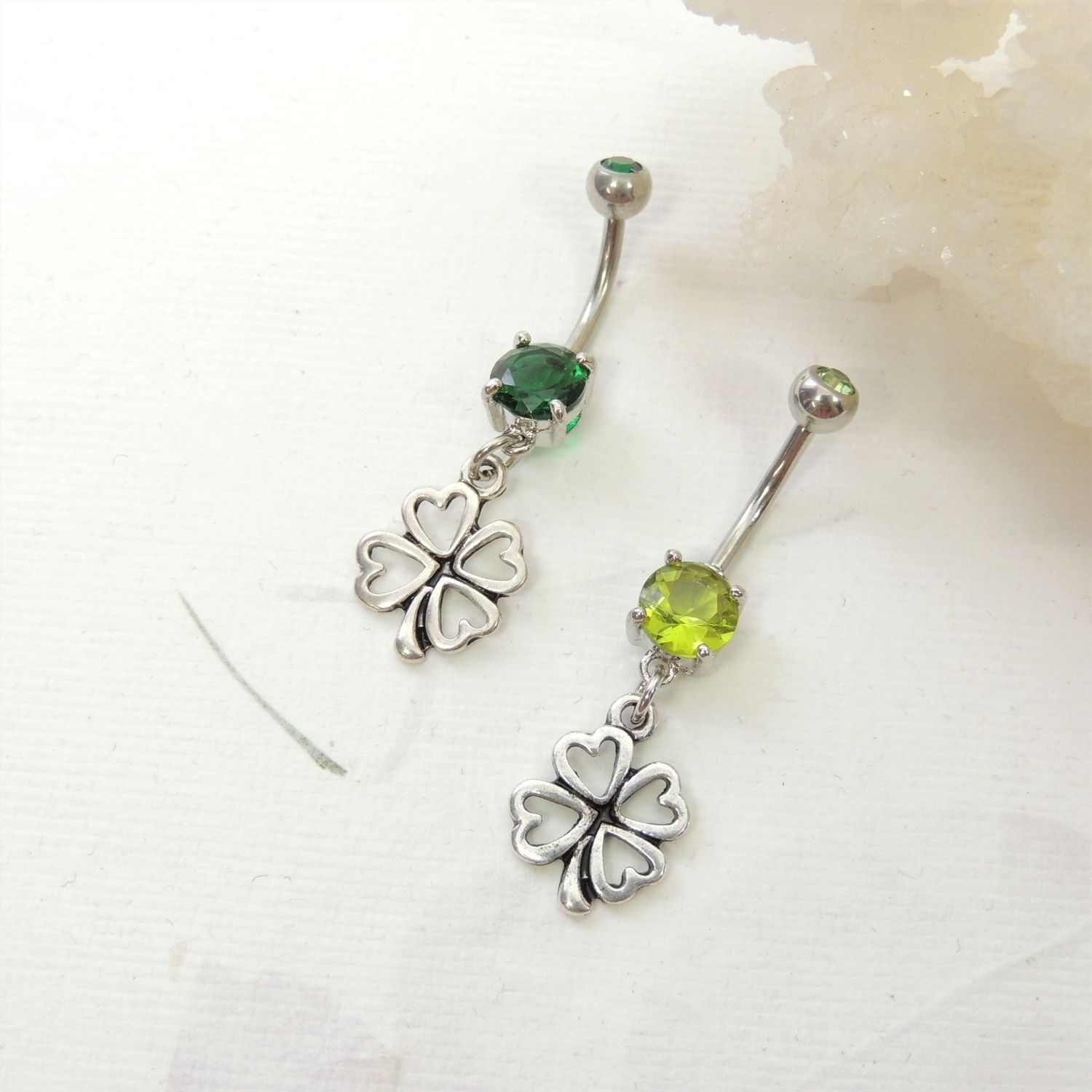 Lucky Four Leaf Clover Shamrock Belly Ring | Belly Rings – Navel Inside 2018 Dangling Four Leaf Clover Rings (View 17 of 25)
