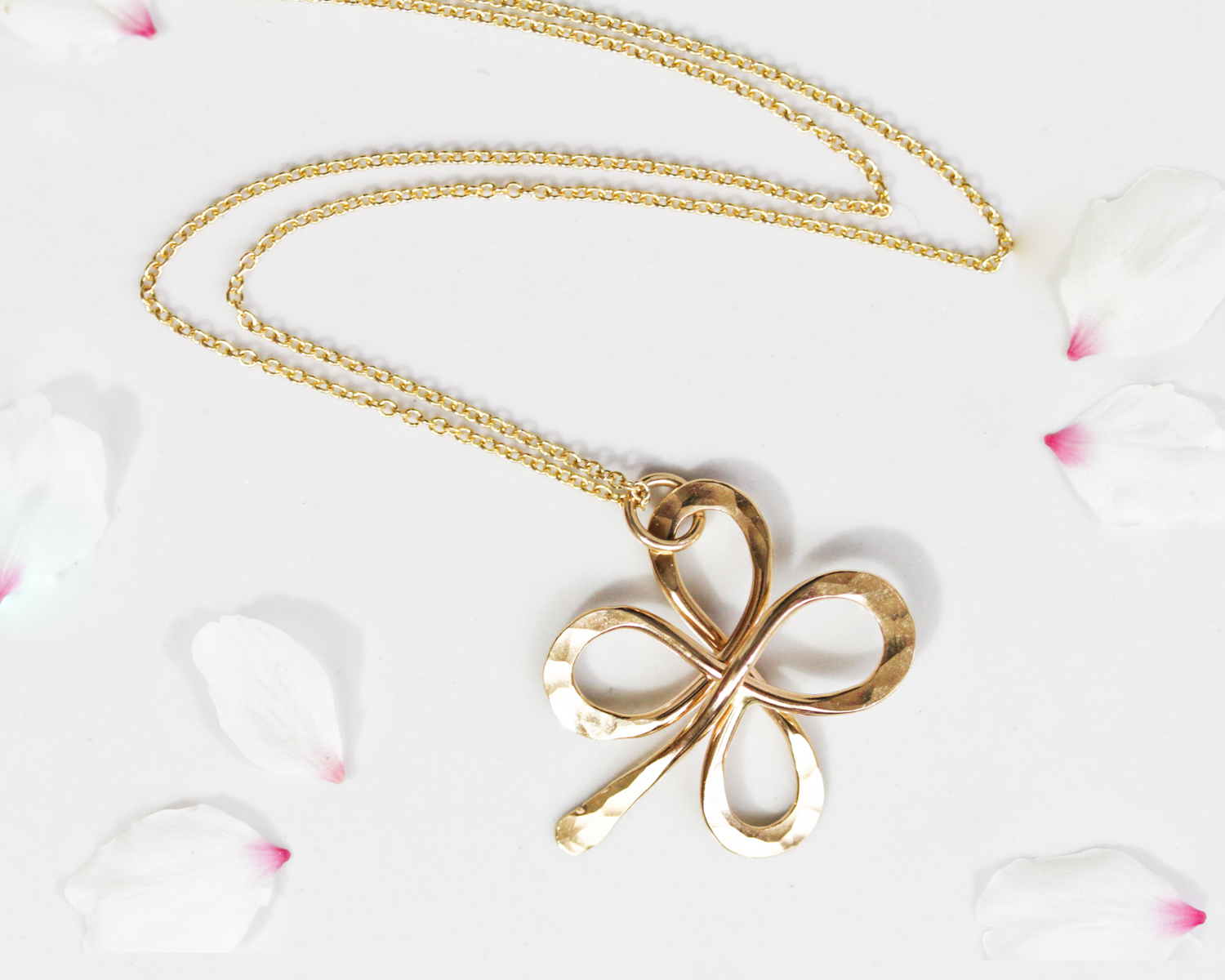 Lucky Gold Four Leaf Clover Hand Made Necklaceamy Waltz Designs Throughout 2020 Lucky Four Leaf Clover Pendant Necklaces (View 8 of 25)