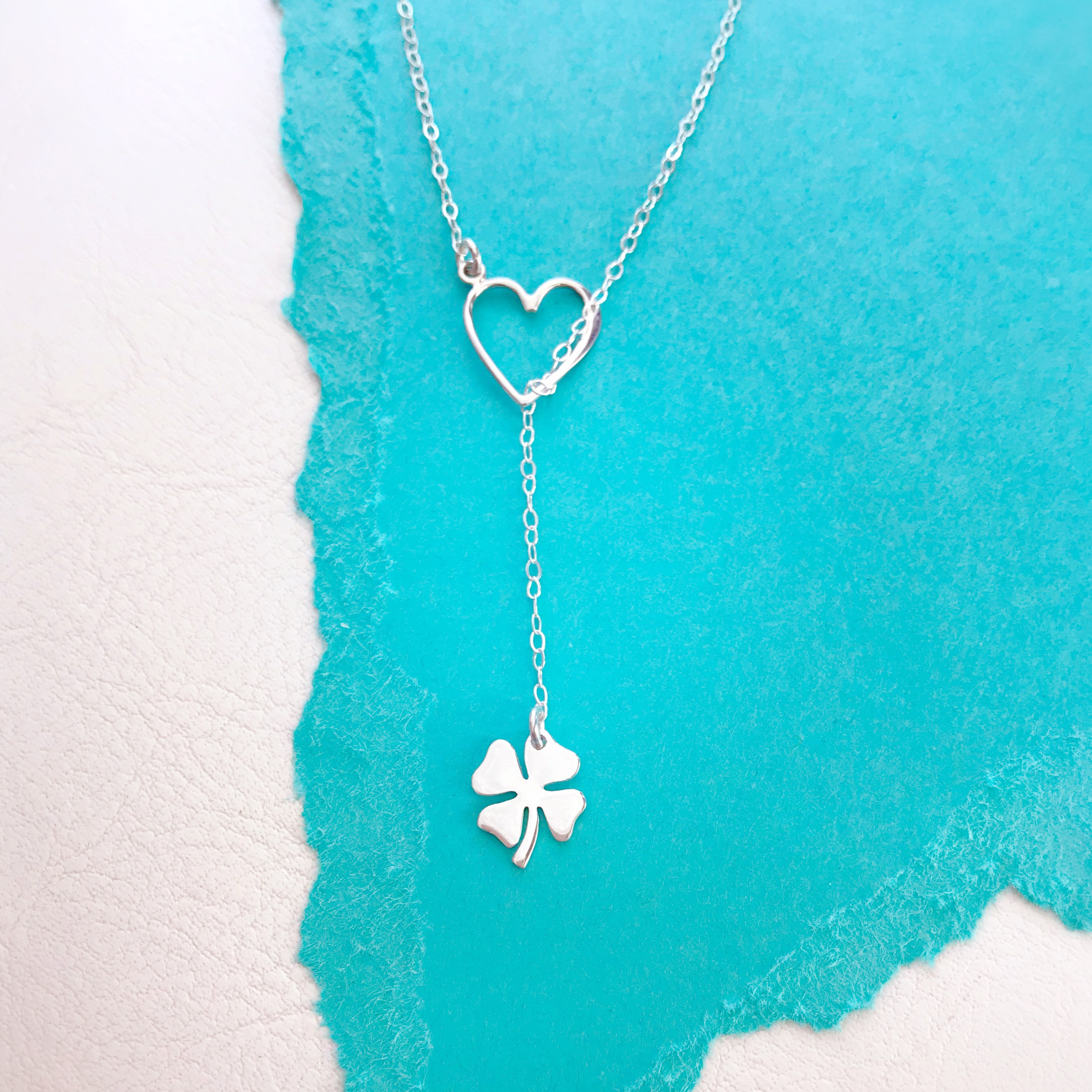 Lucky In Love Necklace, Y Necklace, Lariat, Four Leaf Clover, Shamrock,  Lucky Charm Necklace, Otis B Jewelry, St Patricks Day Wedding Within Latest Lucky Four Leaf Clover Y  Necklaces (View 16 of 25)
