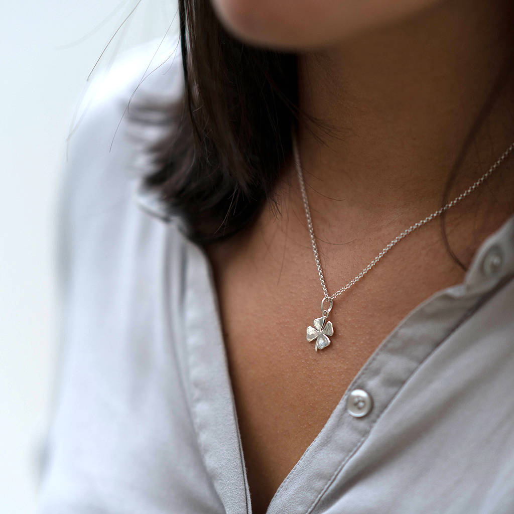 Lucky Silver Or Gold Four Leaf Clover Necklacehersey For 2019 Lucky Four Leaf Clover Pendant Necklaces (View 2 of 25)