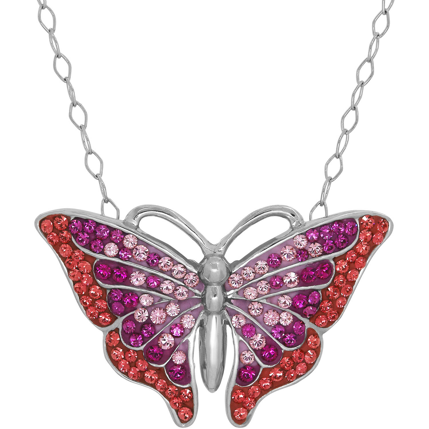 Luminesse – Swarovski Element Sterling Silver Butterfly Pendant, 18 Intended For Latest Pink Butterfly Locket Element Necklaces (View 10 of 25)
