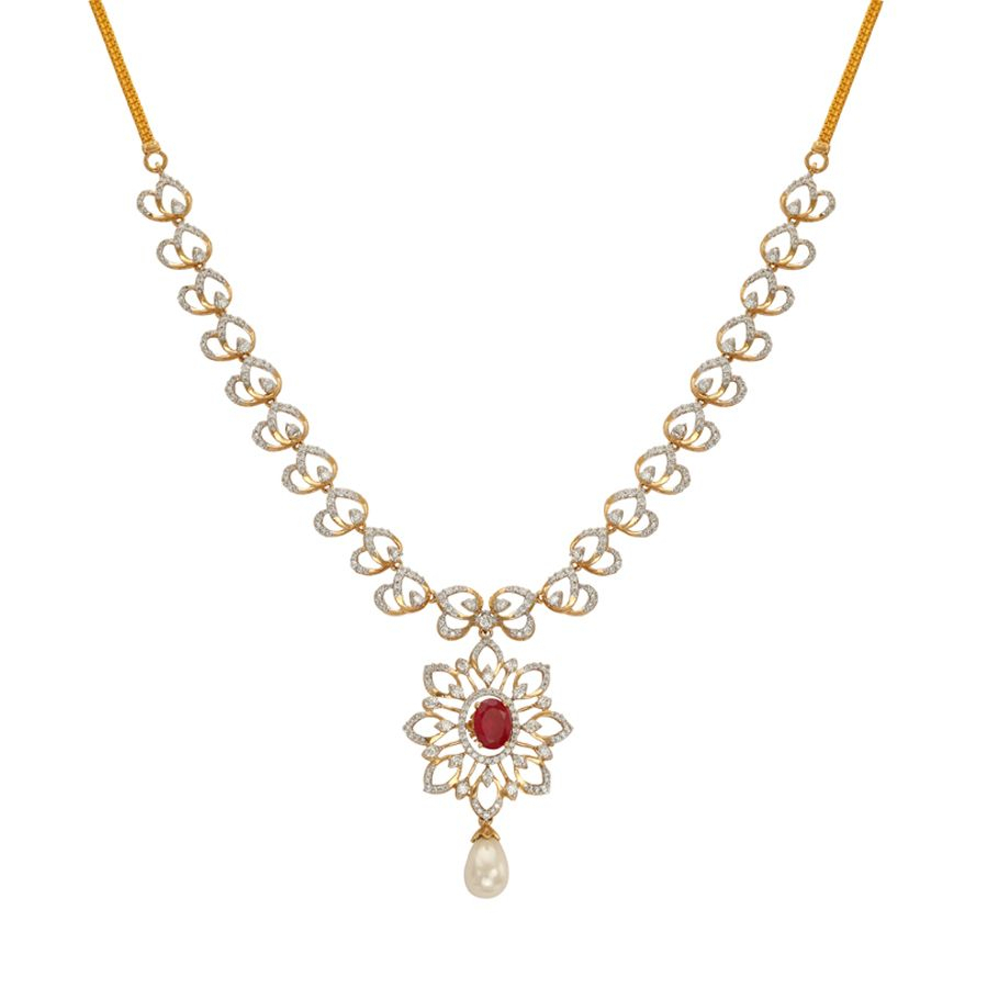 Luminous Floral Diamond Necklace Regarding Newest Luminous Florals Pendant Necklaces (Gallery 9 of 25)