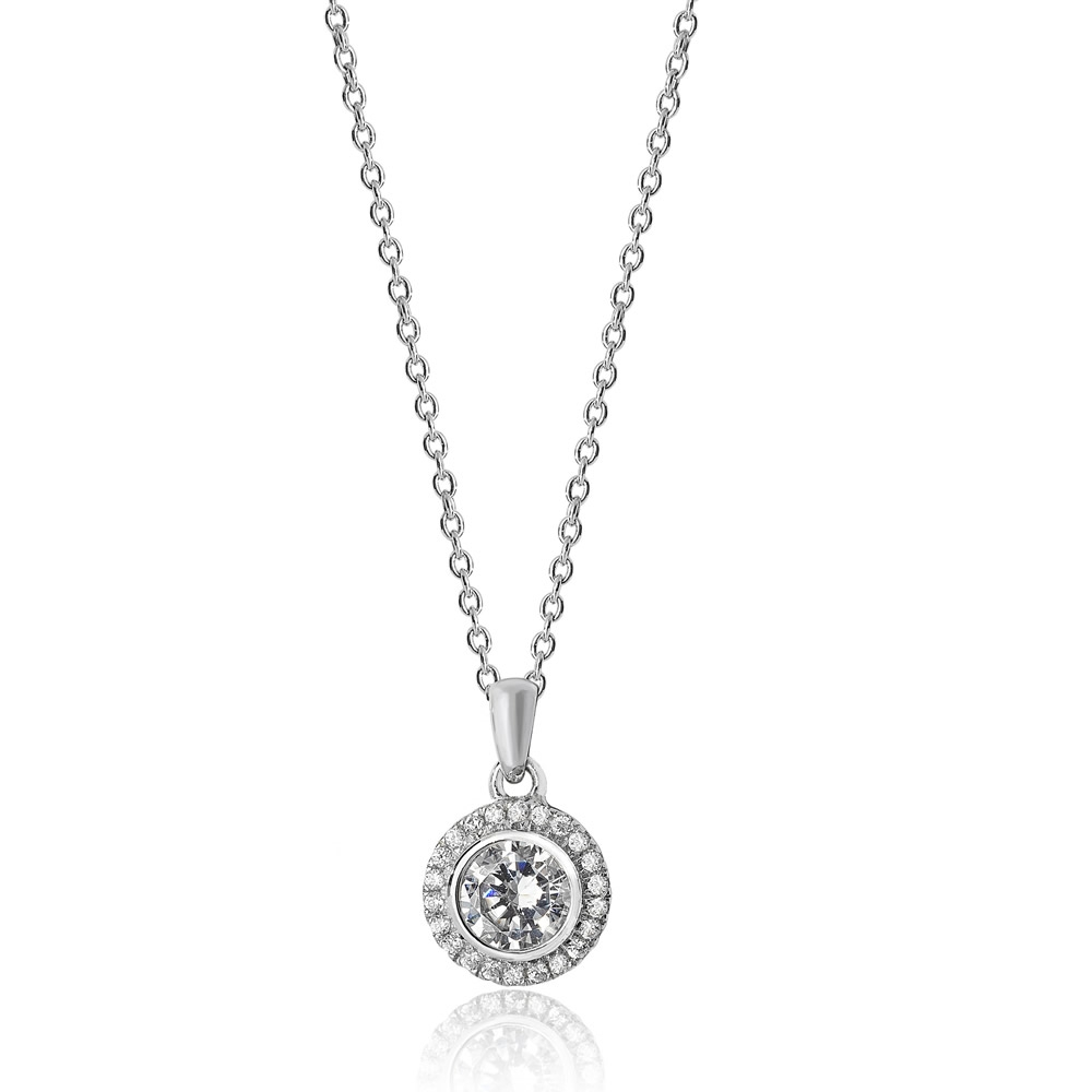 Luminous Silver Round Halo Pendant Throughout Latest Round Sparkle Halo Necklaces (View 10 of 25)