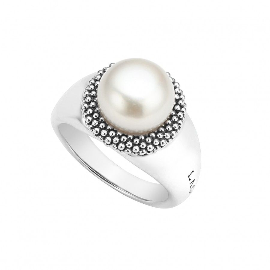 Luna Pearl Ring | Love Ring | Pearl Ring, Pearl Jewelry, Rings Regarding Recent Bead & Freshwater Cultured Pearl Open Rings (Gallery 8 of 25)