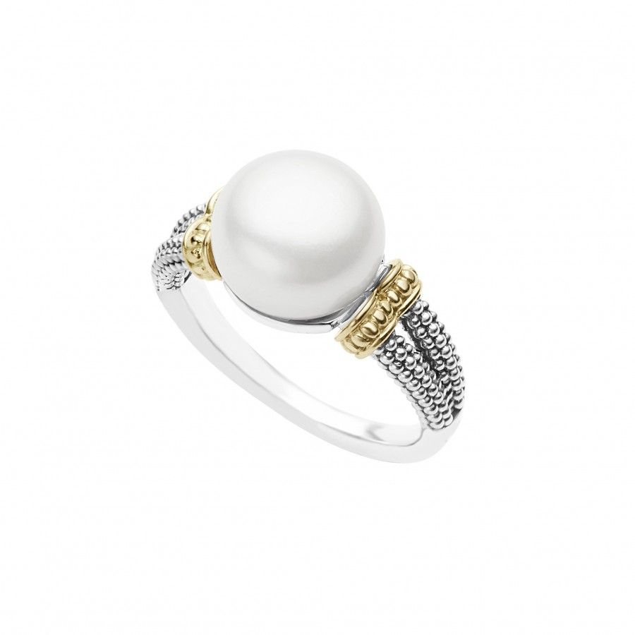 Luna Pearl Ring | Ring | Engagement Rings, Rings, Pearl Ring Intended For Current Bead & Freshwater Cultured Pearl Open Rings (Gallery 4 of 25)