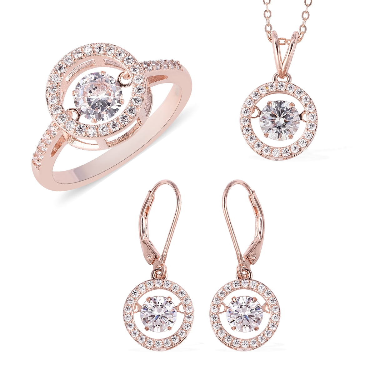 Lustro Stella Dancing Cz Halo Set Earrings, Ring (Size 10) And Pendant Necklace (18 In) In Vermeil Rg Over Sterling Silver (Avg. 14 G) (View 15 of 25)