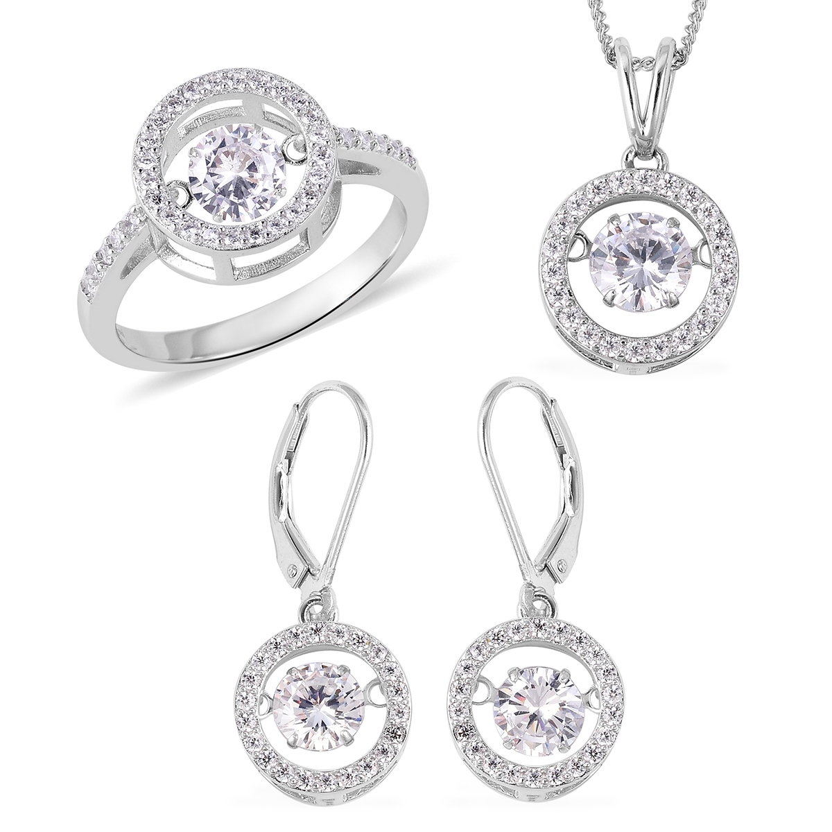 Lustro Stella Dancing Cz Halo Set Earrings, Ring (Size 6) And Pendant Necklace (18 In) In Sterling Silver (View 23 of 25)