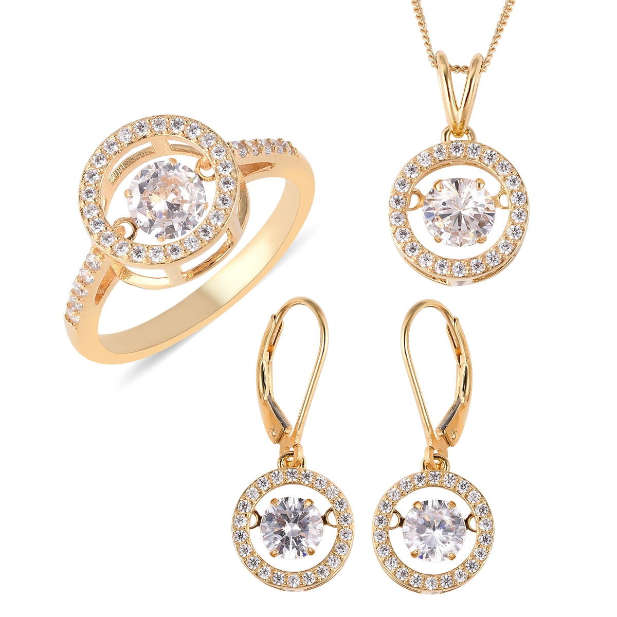 Lustro Stella Dancing Cz Halo Set Earrings, Ring (Size 8) And Pendant Necklace (18 In) In Vermeil Yg Over Sterling Silver (Avg. 11.25 G) (View 21 of 25)