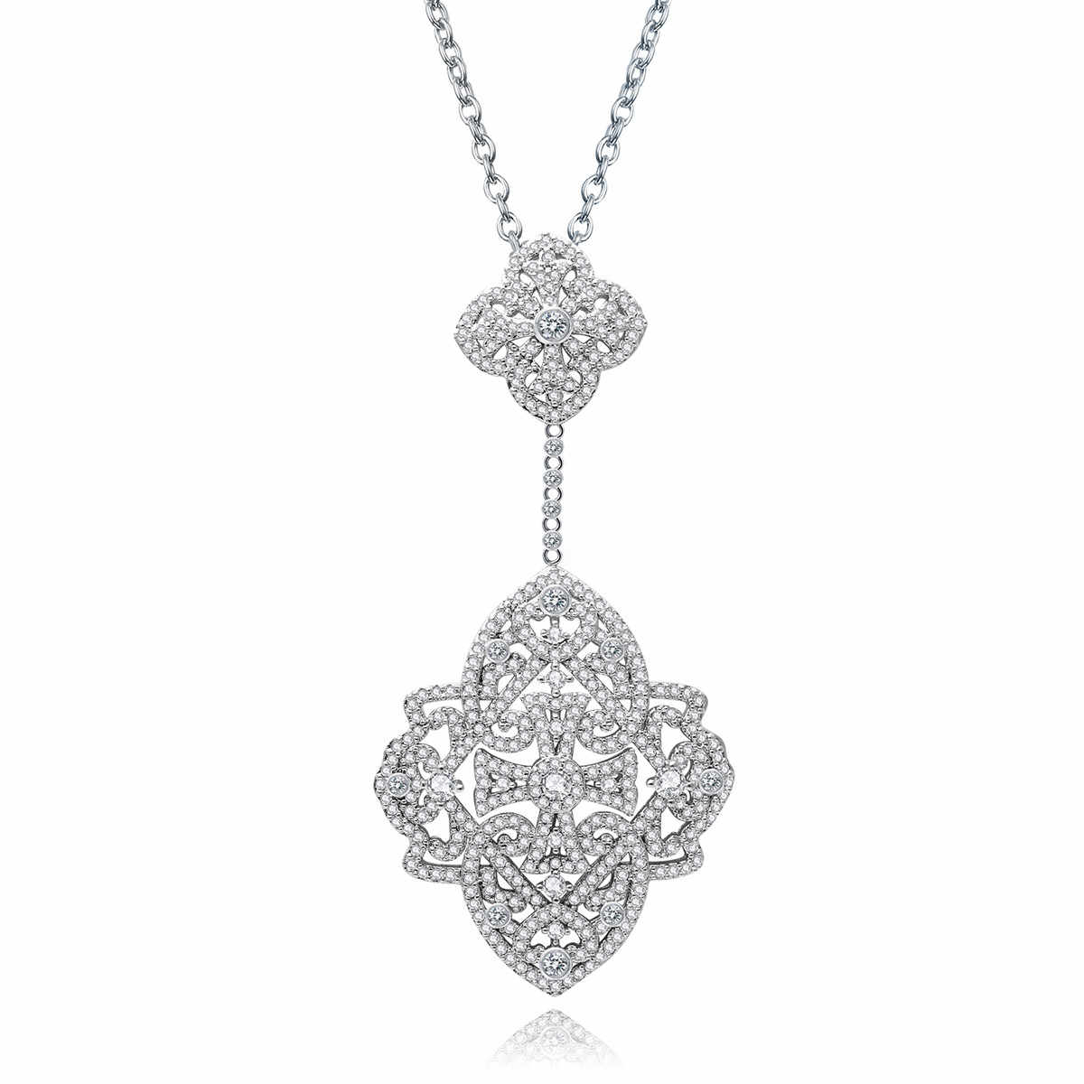 Luxurious Fashion Women Flower Pendant Necklace Micro Paved Tiny Cz Crystal Jewelry Elegant Charm Wedding Party Bijoux Intended For Most Recently Released Sparkling Daisy Flower Locket Element Necklaces (View 18 of 25)