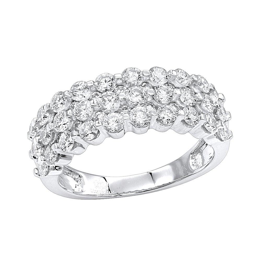 Luxurman 14k Gold 3 Row Diamond Wedding Band For Women Anniversary Ring In 2019 Diamond Vintage Style Three Row Anniversary Bands In Gold (View 3 of 25)
