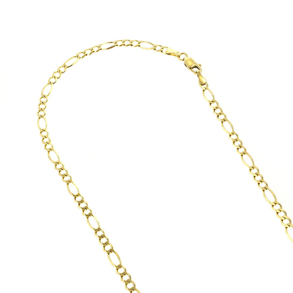 Luxurman 14K Solid Gold 3Mm Classic Figaro Diamond Cut Chain Necklace  Lobster Clasp With Most Recently Released Classic Figaro Chain Necklaces (View 18 of 25)