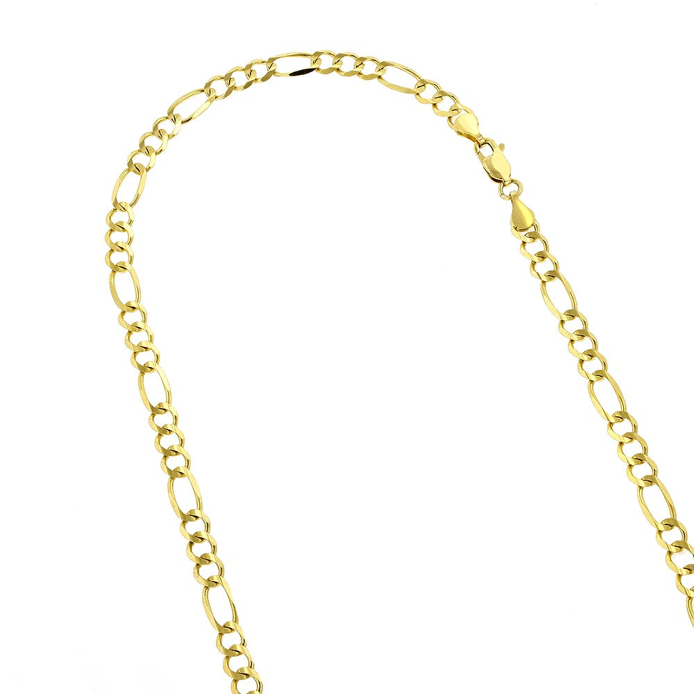 Luxurman 14K Solid Gold 4Mm Classic Figaro Diamond Cut Chain Necklace  Lobster Clasp With Regard To 2020 Classic Figaro Chain Necklaces (View 19 of 25)