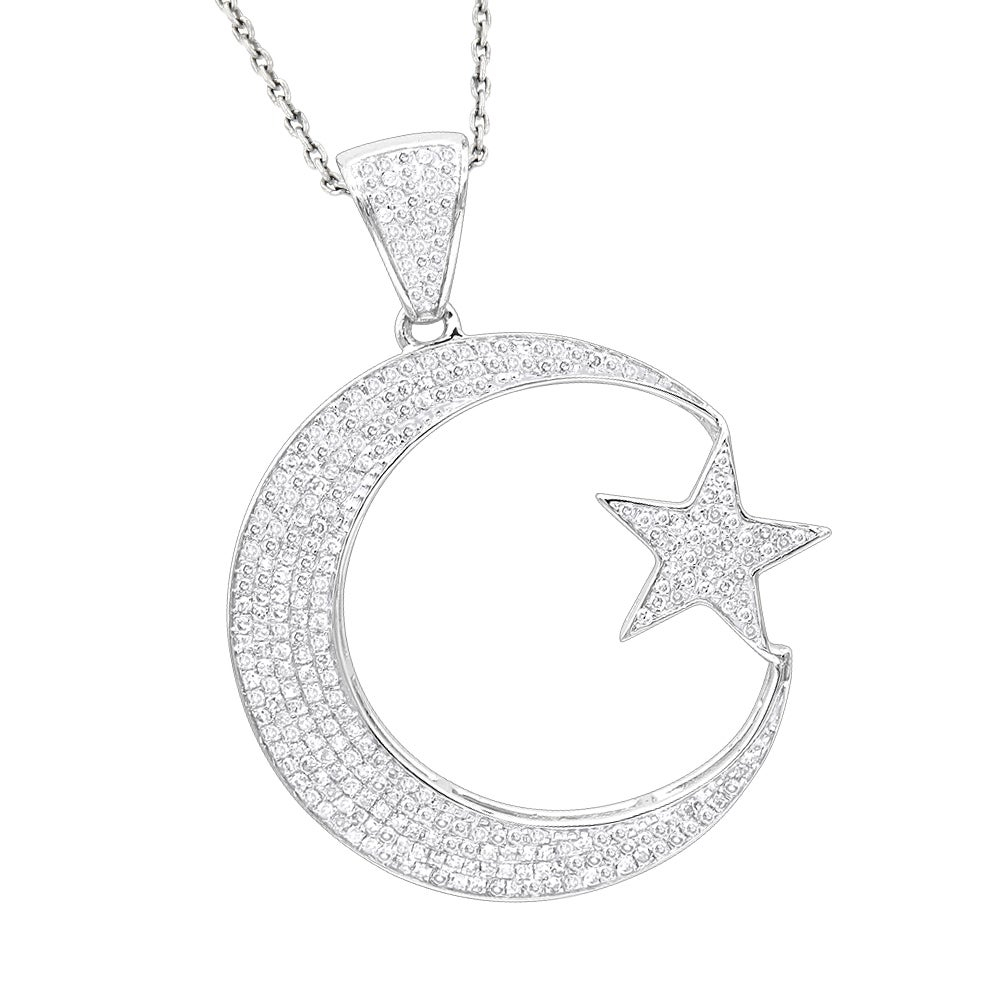 Luxurman Unique 10k Gold Star And Crescent Moon Diamond Pendant (View 5 of 25)