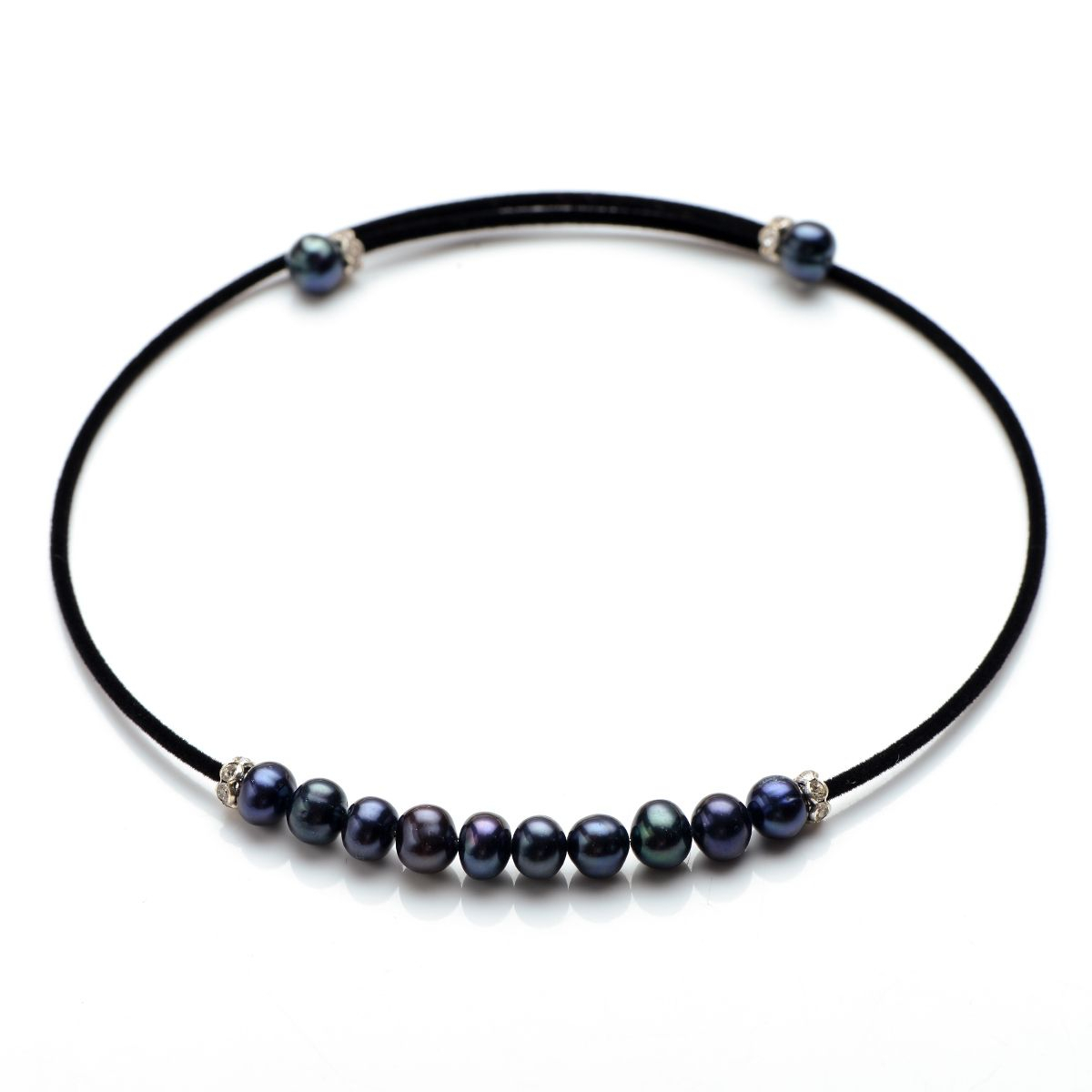 Luxury 7 8Mm Black Potato Pearls Choker Necklace Black Cotton Cord For Ladies Pertaining To Most Up To Date Offset Freshwater Cultured Pearl Circle Necklaces (View 15 of 25)