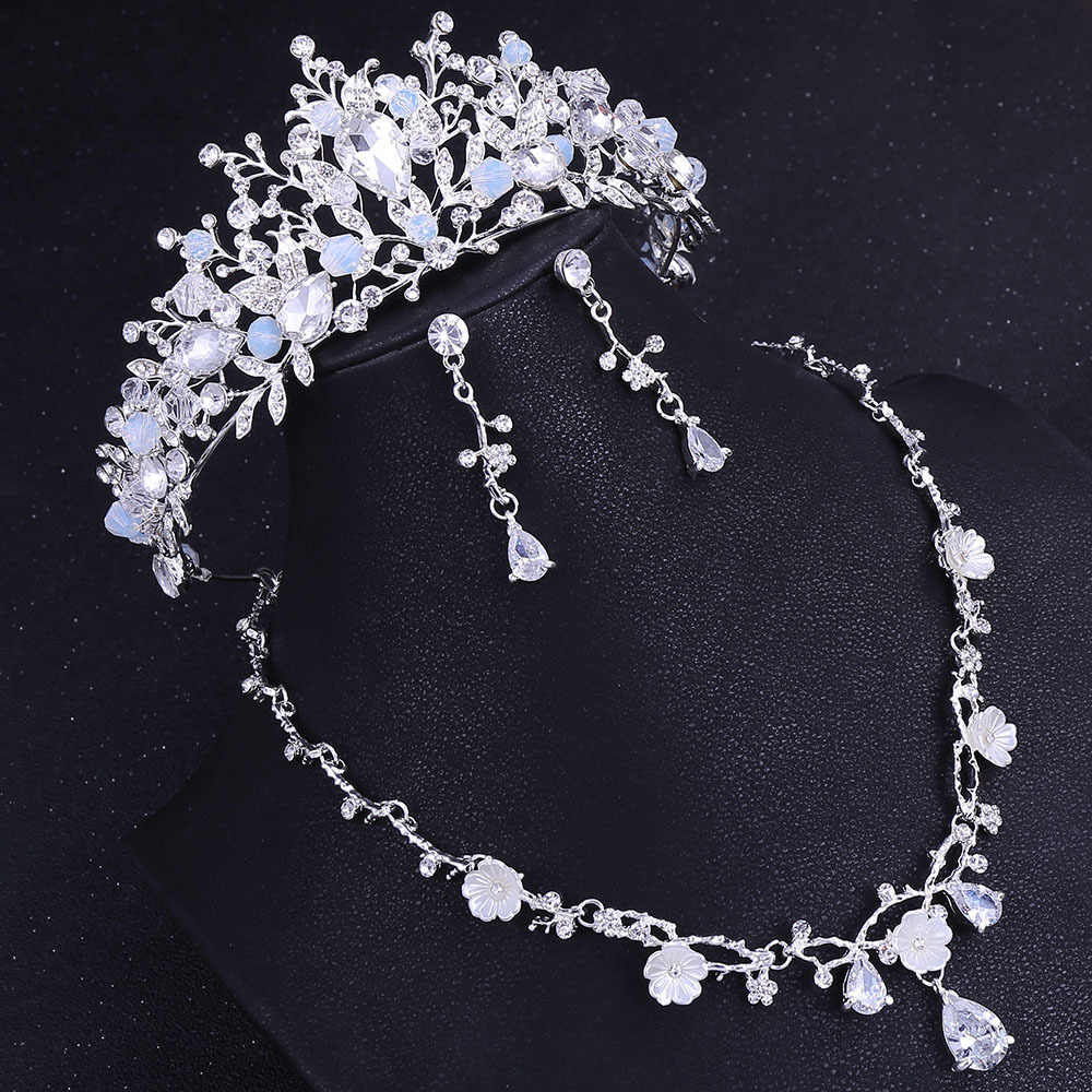 Luxury Crystal Flower Bridal Jewelry Sets Bride Choker Necklace For Most Current Tiara Crown Collier Necklaces (View 16 of 25)
