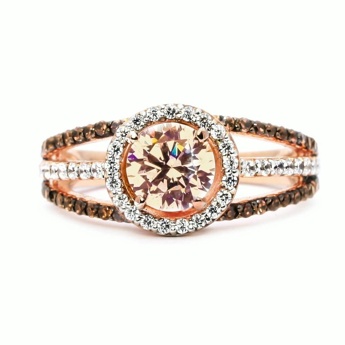 """Luxury Exquisite Women S 925 Sterling Silver Round Garnet & White Sapphire  & Black Topaz Ring 18K Rose Gold Gemstone Diamond Charm Crystal B Intended For Newest Diamond Seven Stone """"x"""" Anniversary Bands In Sterling Silver And Rose Gold (View 8 of 25)"""