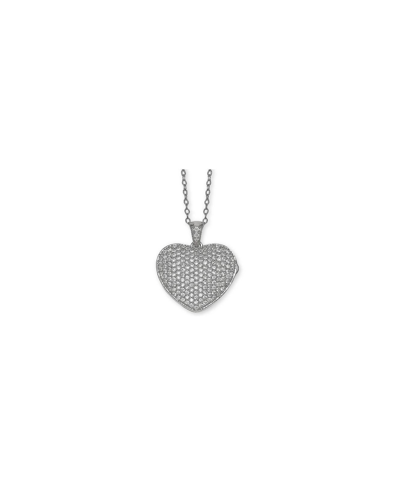 "Lyst – Giani Bernini Cubic Zirconia Pavé Heart Locket 18"" Pendant With Regard To Latest Pavé Locket Element Necklaces (View 12 of 25)"