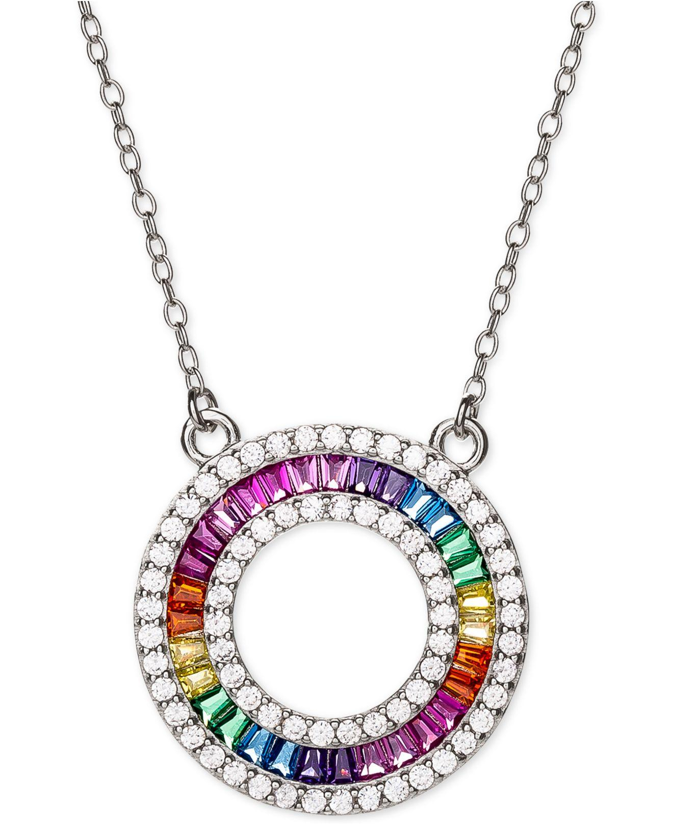 "Lyst – Giani Bernini Cubic Zirconia Rainbow Circle 18"" Pendant In Most Popular Sparkling Lioness Heart Pendant Necklaces (View 15 of 25)"