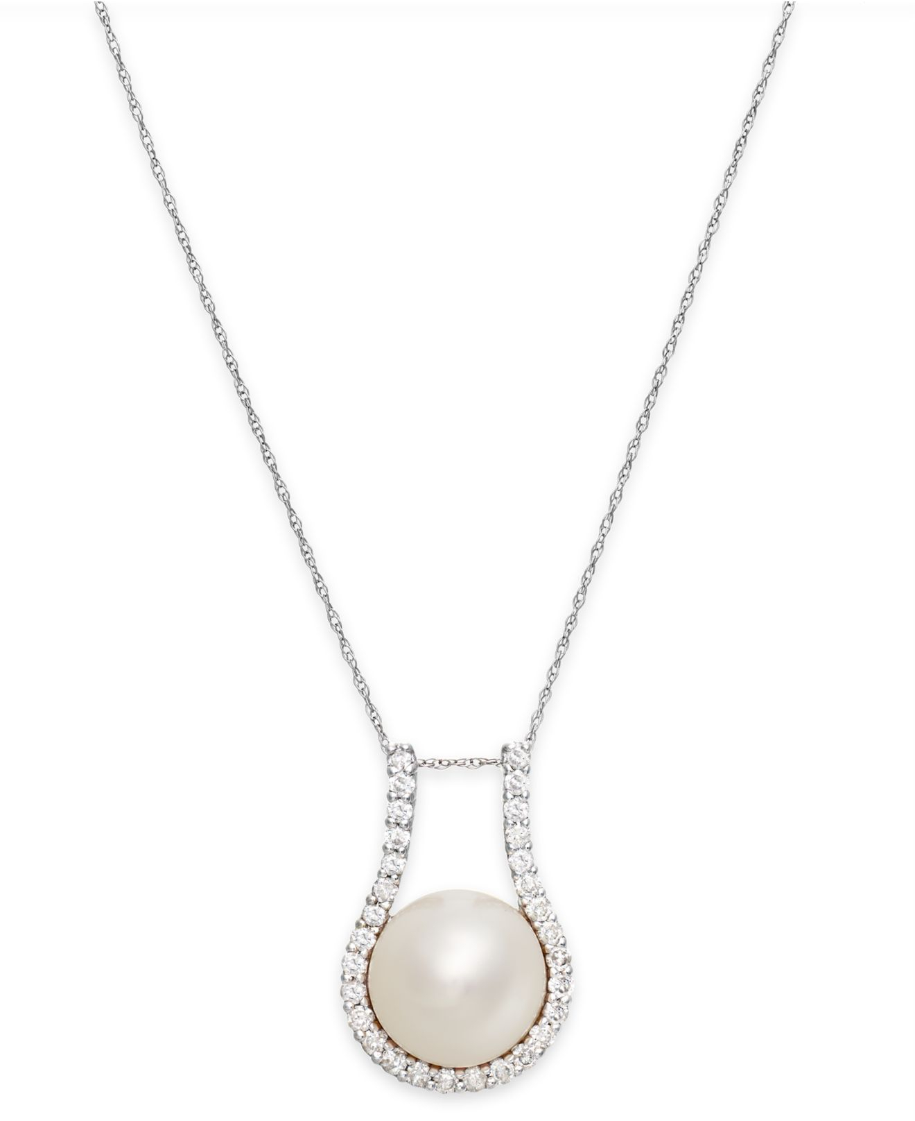 Lyst – Macy's Cultured Freshwater Pearl (11Mm) And Diamond (5/8 Ct Inside Newest Offset Freshwater Cultured Pearl Circle Necklaces (View 5 of 25)