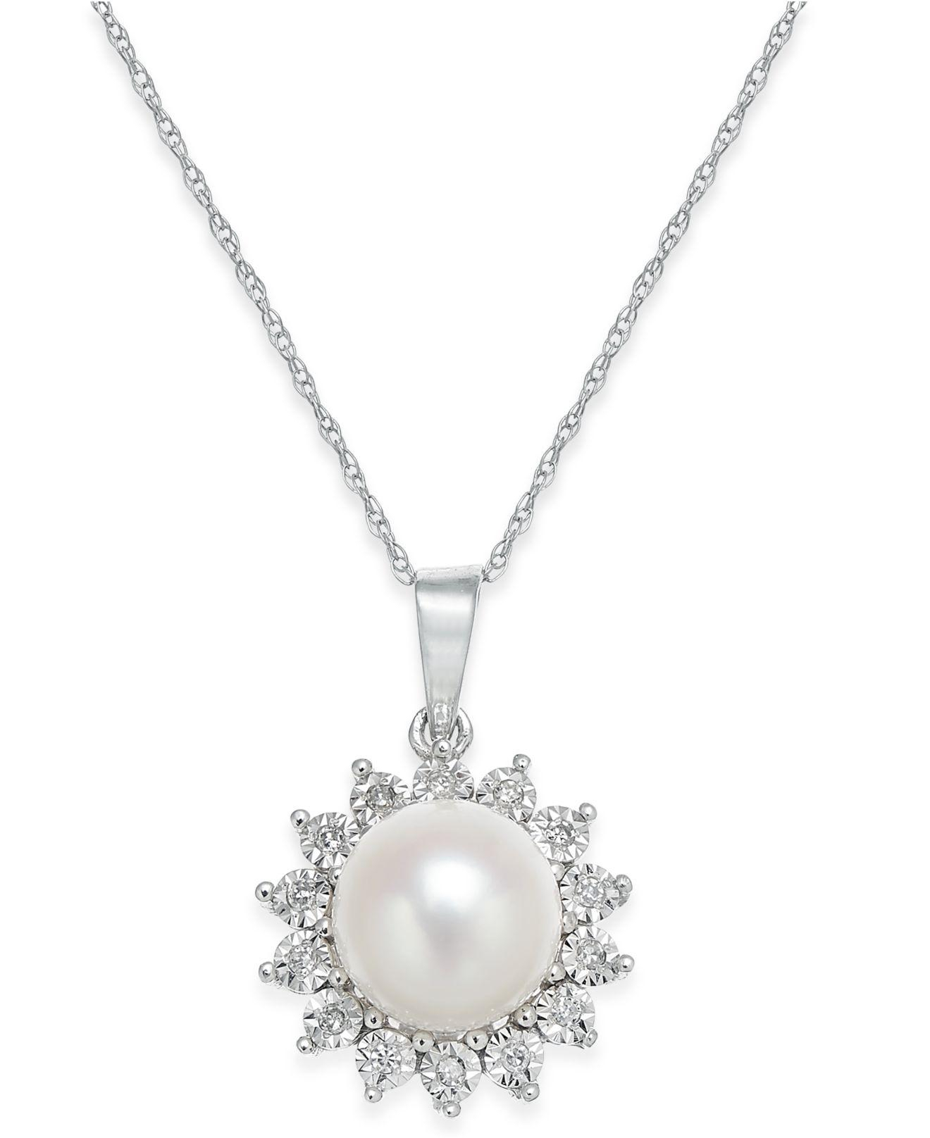 Lyst – Macy's Cultured Freshwater Pearl And Diamond Accent Pendant Intended For Most Recently Released Offset Freshwater Cultured Pearl Circle Necklaces (View 3 of 25)