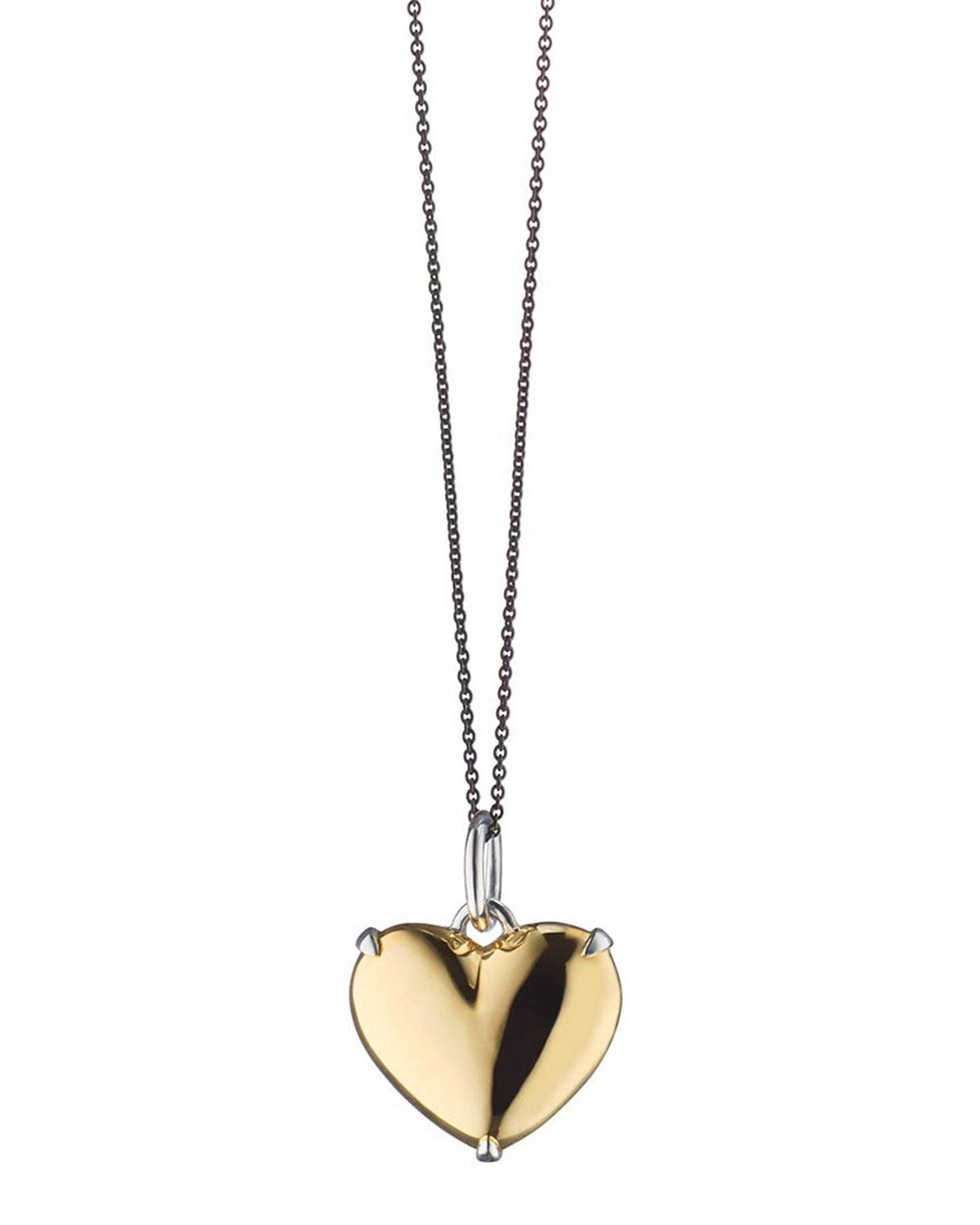 Lyst – Monica Rich Kosann Two Tone Heart Of Gold Charm Necklace In Regarding 2020 Interlocked Hearts Locket Element Necklaces (View 14 of 25)