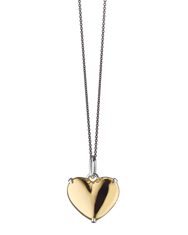 Lyst – Monica Rich Kosann Two Tone Heart Of Gold Charm Necklace In Regarding 2020 Interlocked Hearts Locket Element Necklaces (Gallery 19 of 25)