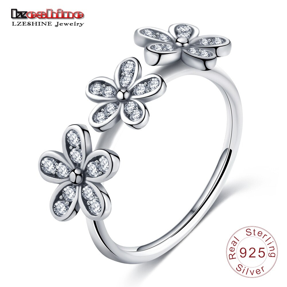 Lzeshine Brand Dazzling Daisies Ring For Women 925 Sterling Silver With 2017 Sparkling Daisy Flower Rings (View 2 of 25)