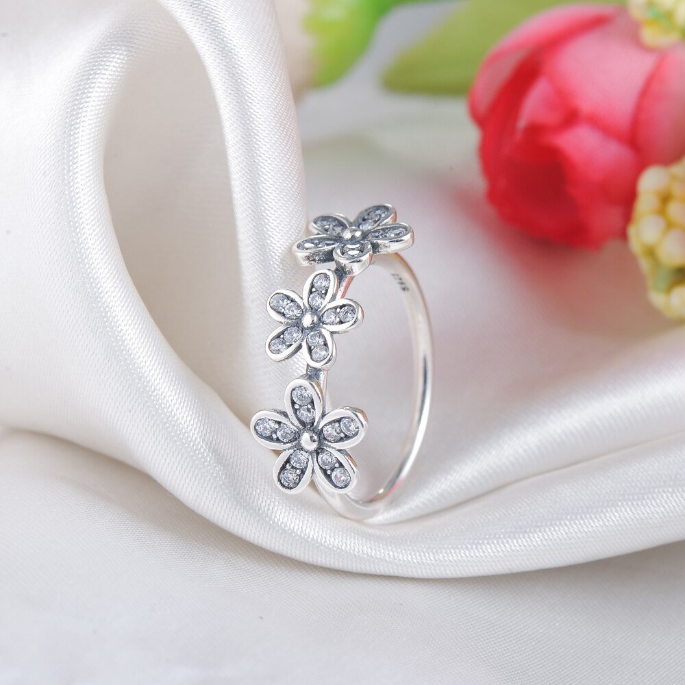Lzeshine Brand Dazzling Daisies Ring For Women 925 Sterling Silver Within Best And Newest Sparkling Daisy Flower Rings (View 9 of 25)