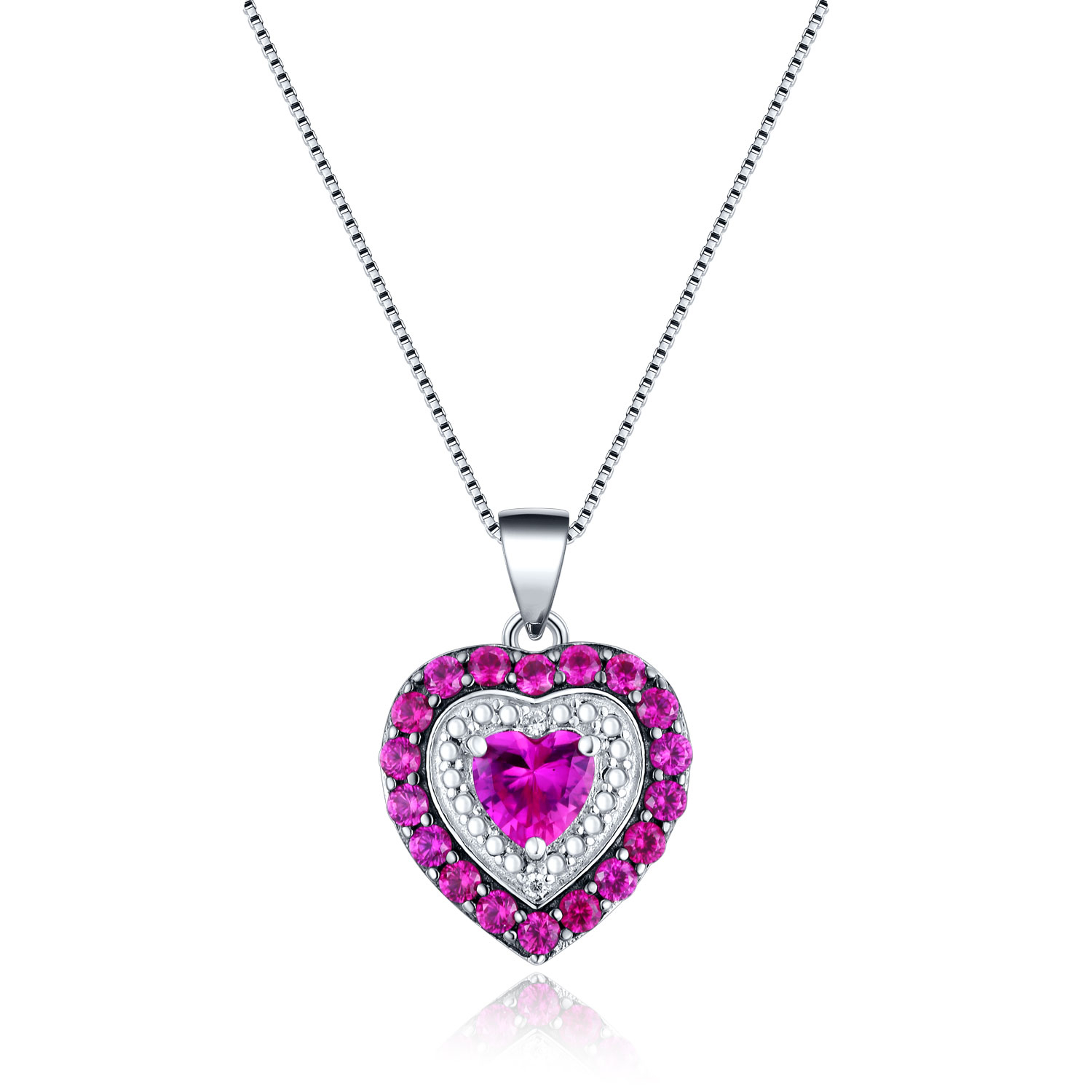Mabella Sterling Silver Pave Simulated Ruby July Birthstone Heart Cut  Pendant Necklace Gift For Women Regarding Most Popular July Droplet Pendant, Synthetic Ruby Necklaces (Gallery 22 of 25)
