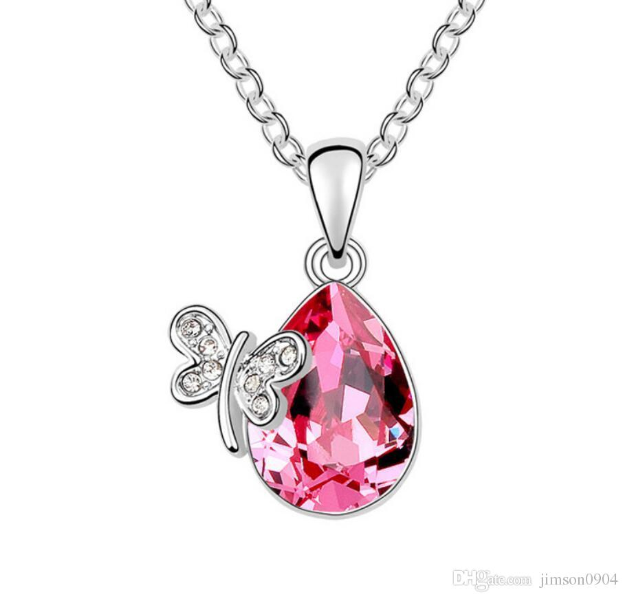 Made In China Fashion Jewelry Woman Originality Ornaments Using Swarovski  Elemental Crystal Necklace Miss Butterfly Pendant Throughout Most Recent Pink Butterfly Locket Element Necklaces (View 13 of 25)