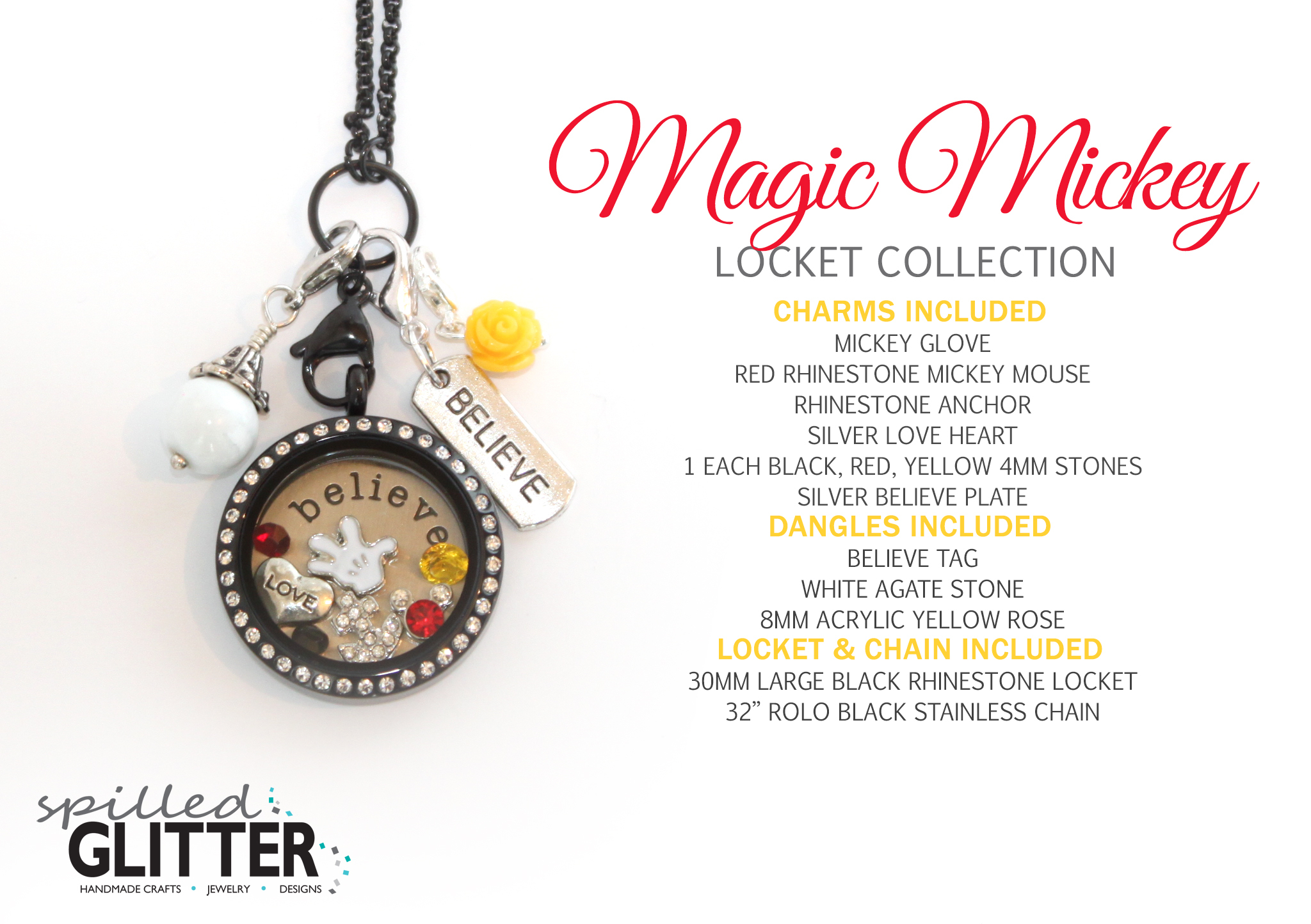 Magic Mickey Mouse Floating Locket And Charm Collection | Spilled For Most Current Disney Mickey Floating Locket Necklaces (View 14 of 25)