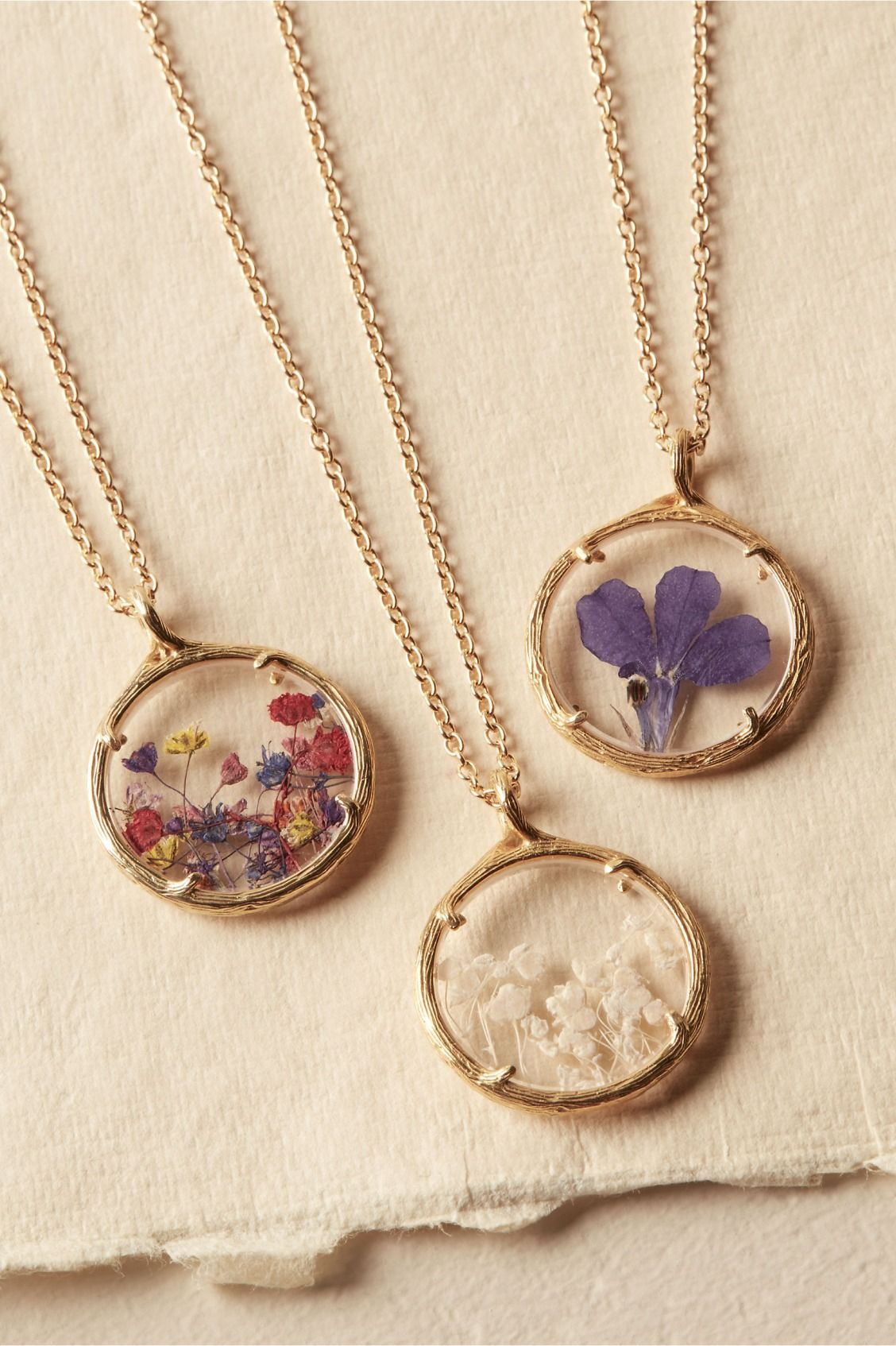 Maids Gift | Pressed Flower Necklace From Bhldn | Jewelry En 2019 With Most Recent Classic Flower Locket Element Necklaces (View 7 of 25)