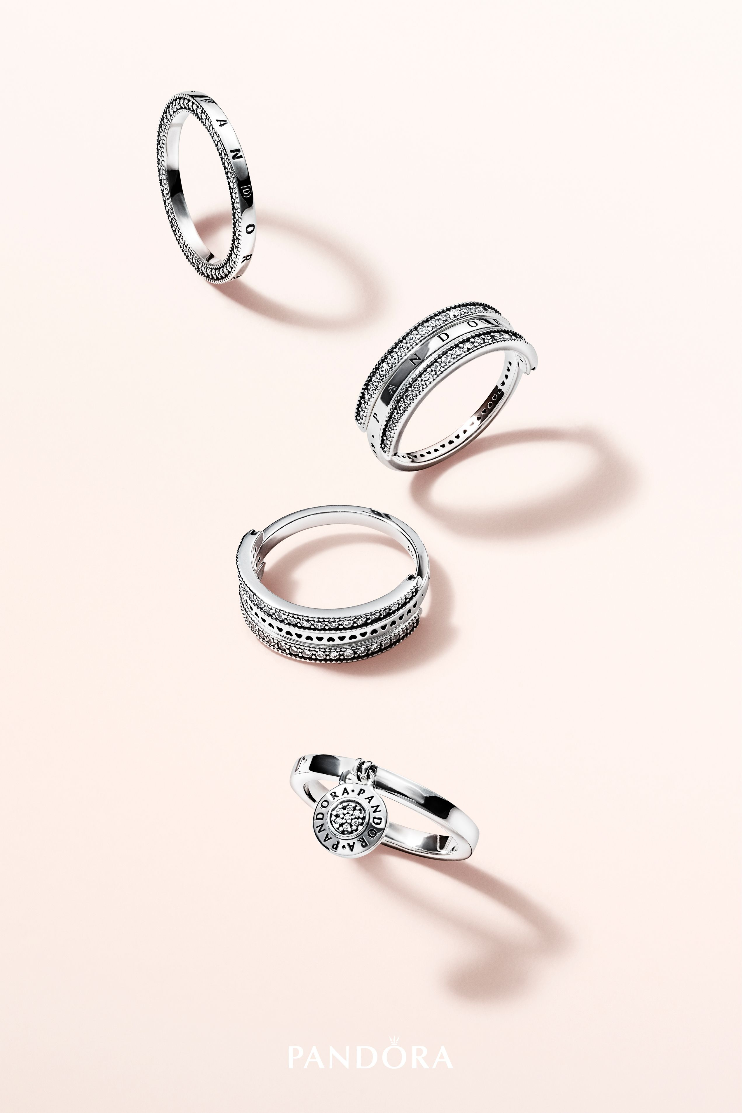 Make A Timeless Statement With New Rings From The Pandora Signature Regarding Most Popular Pandora Logo Pavé Rings (View 9 of 25)
