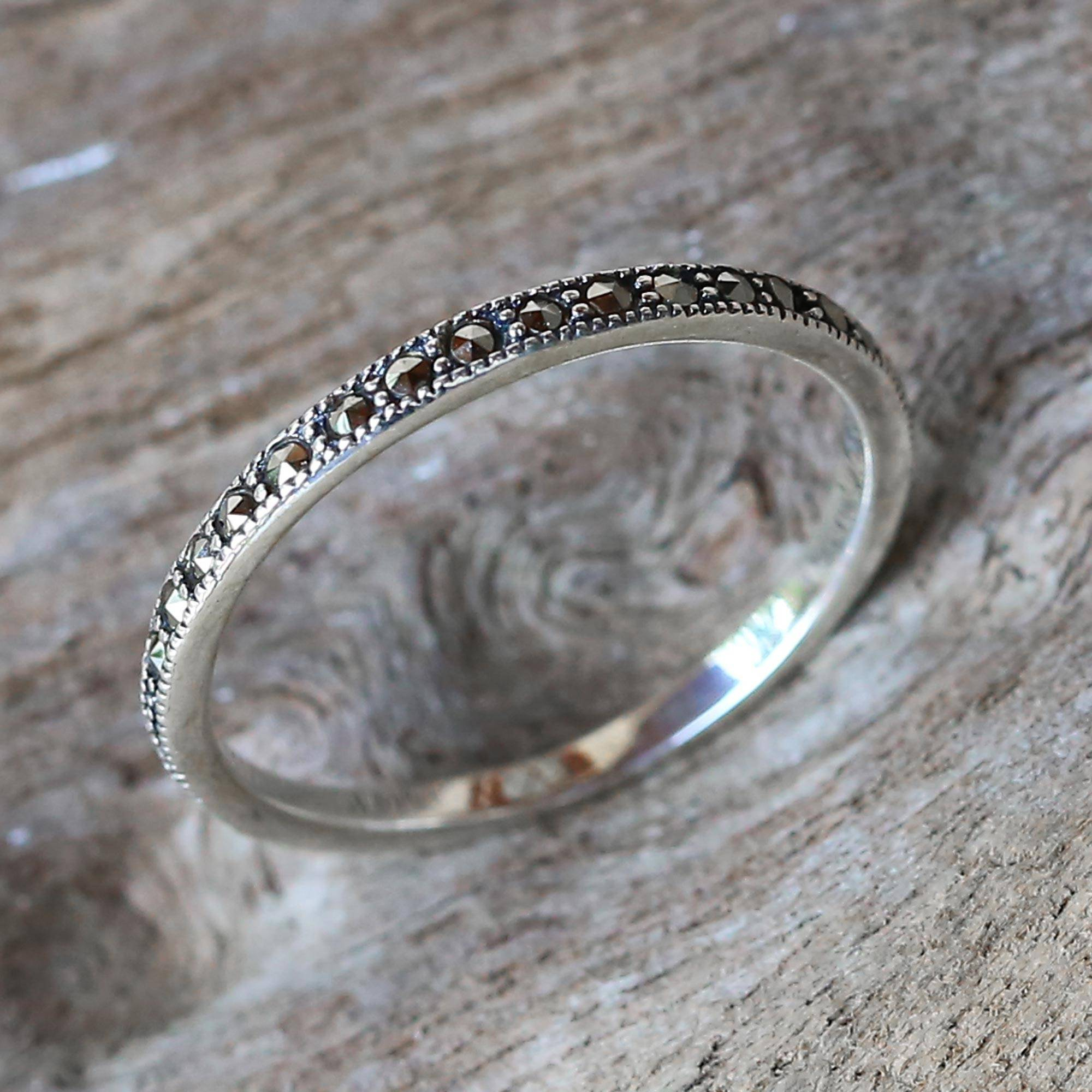 Marcasite And Sterling Silver Band Ring From Thailand, 'glistening Road' Intended For Latest Simple Sparkling Band Rings (View 17 of 25)