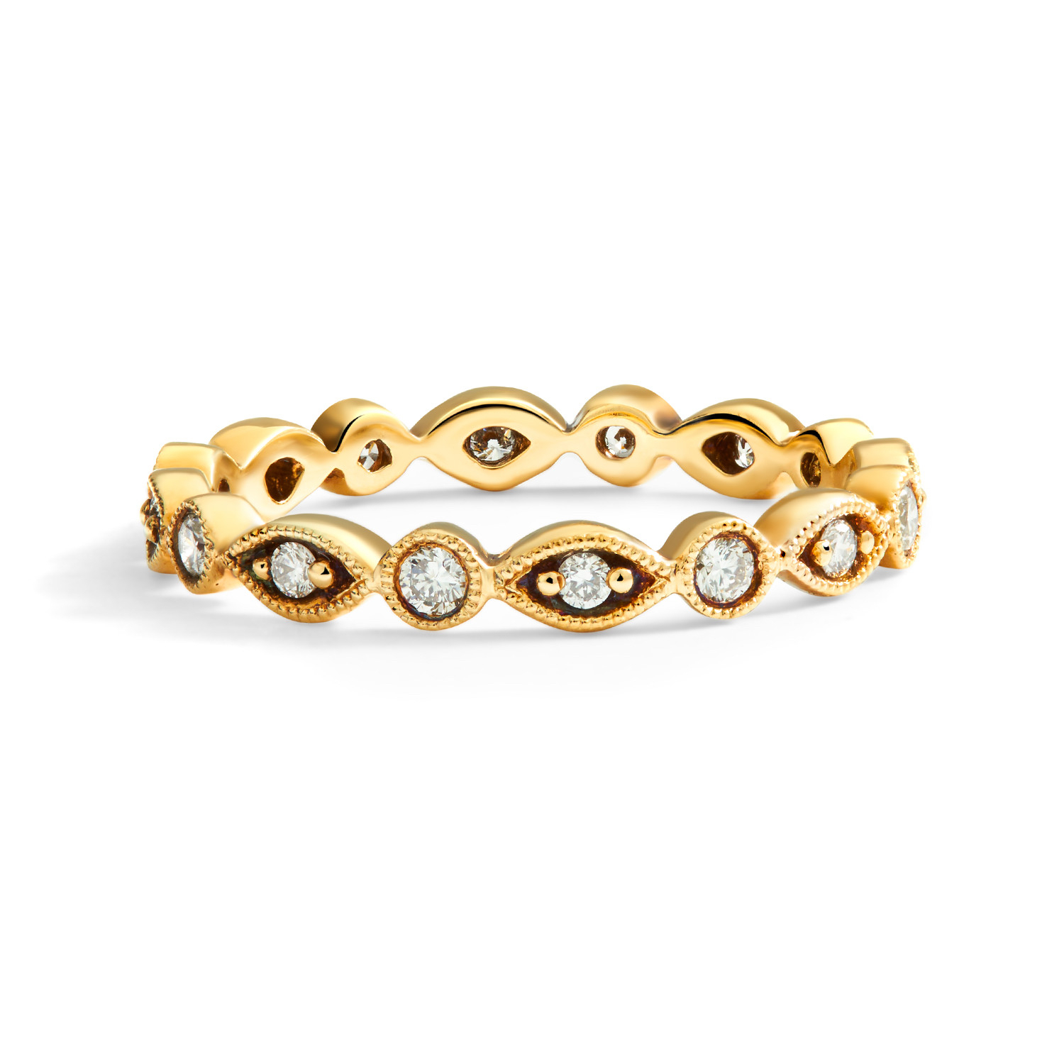 Marquise And Dot Diamond Milgrain Eternity Ring In 18k Yellow Gold ( (View 18 of 25)