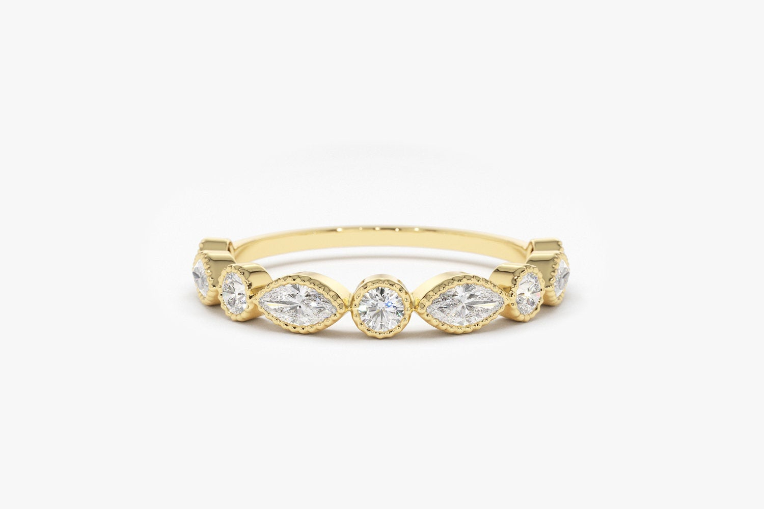 Marquise And Round Diamond Ring In 14K Gold / Milgrain Bezel Setting Alternating Marquise & Round Diamond Half Eternity Anniversary Band Pertaining To Best And Newest Marquise And Round Diamond Alternating Anniversary Bands In Rose Gold (Gallery 8 of 25)