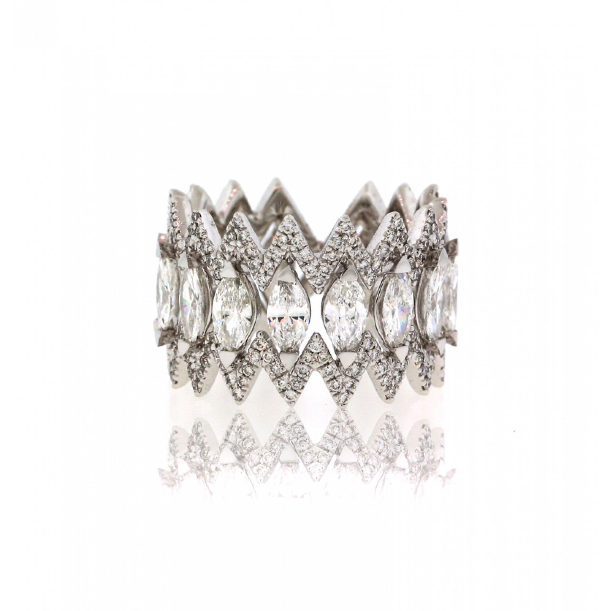 Marquise And Round Diamond Zig Zag Eternity Band,cheap Throughout Most Current Diamond Zig Zag Anniversary Rings In White Gold (View 17 of 25)