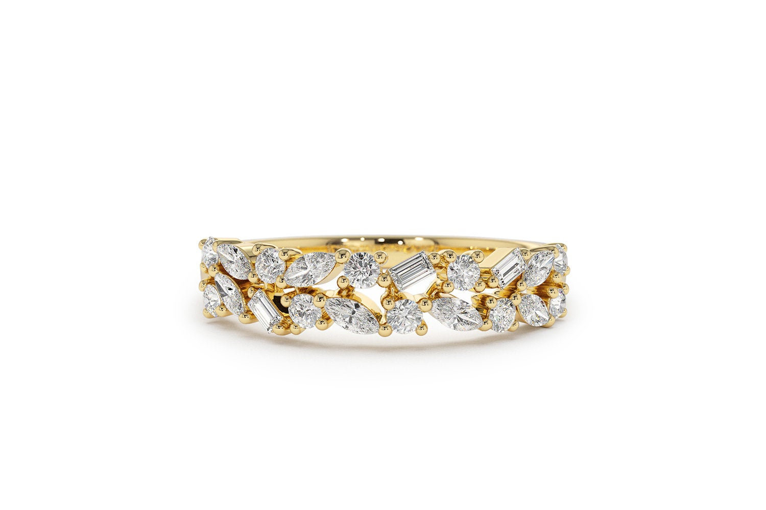 Marquise Baguette And Round Diamond Anniversary Band In 14K Gold / Ferkos Fine Jewelry In Newest Baguette And Round Diamond Alternating Multi Row Anniversary Bands In White Gold (Gallery 21 of 25)